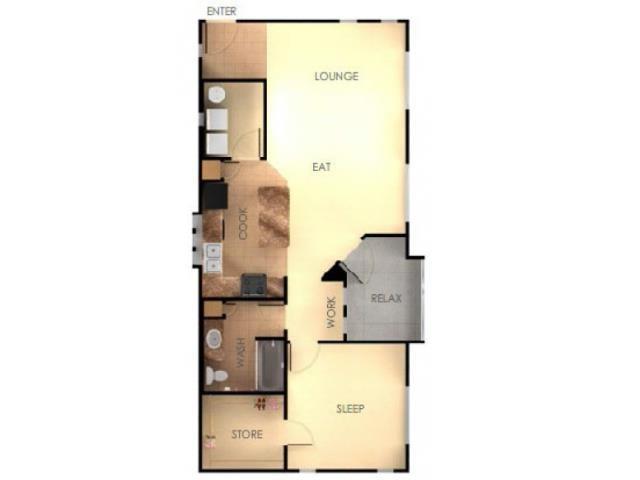 One Bedroom One Bathroom E Floorplan at Ascent at Papago Park, Arizona 85008