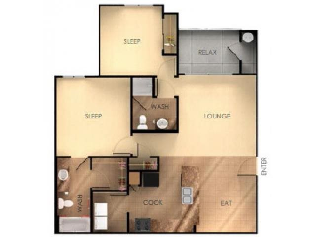 Two Bedroom Two Bathroom C Floorplan at Ascent at Papago Park, Phoenix, 85008