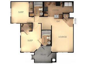 Two Bedroom Two Bathroom A Floorplan at Ascent at Papago Park, Phoenix, Arizona