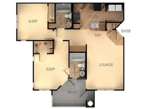 Two Bedroom Two Bathroom B Floorplan at Ascent at Papago Park, Phoenix