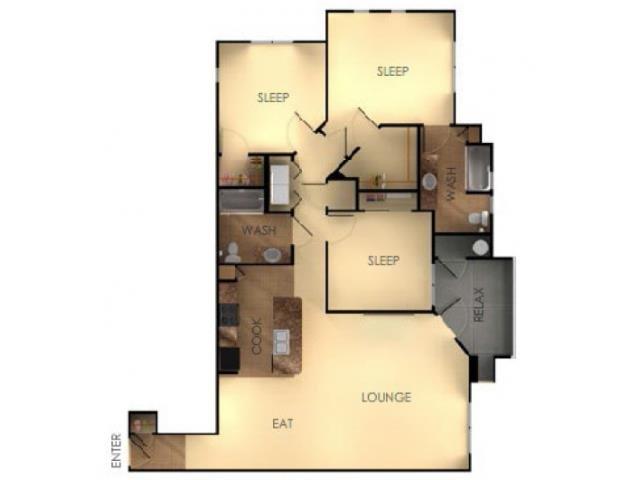Three Bedroom Two Bathroom B Floorplan at Ascent at Papago Park, 4950 East Van Buren Street, Phoenix