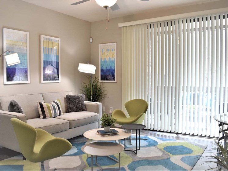 Living Room with Large Windows at Ascent at Papago Park, Phoenix, Arizona