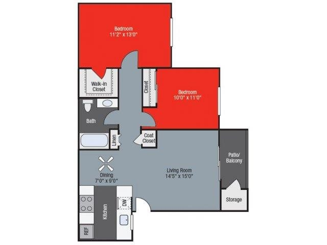 Mulberry two bed one bath Floorplan at Barham Villas Apartments, San Marcos, CA