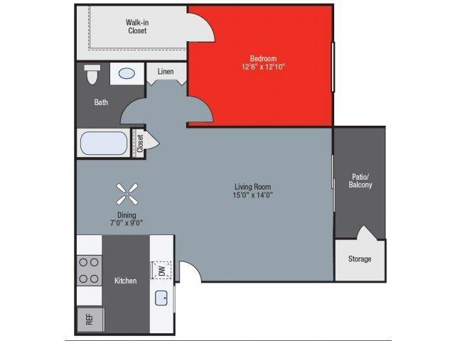 Poppy One Bed One Bath Floorplan at Barham Villas Apartments, San Marcos, CA, 92078