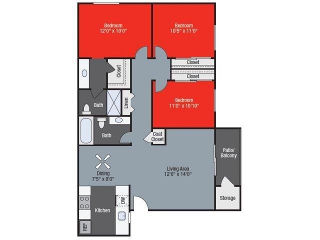 Sycamore three bed two bath Floorplan at Barham Villas Apartments, San Marcos, California