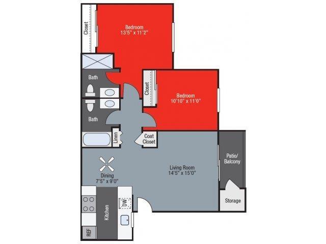 Woodland two bed two bath Floorplan at Barham Villas Apartments, San Marcos