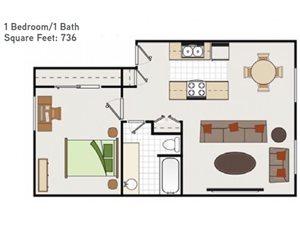 One Bedroom One Bathroom Floorplan at Bella Vista Apartments, Napa, CA, 94558