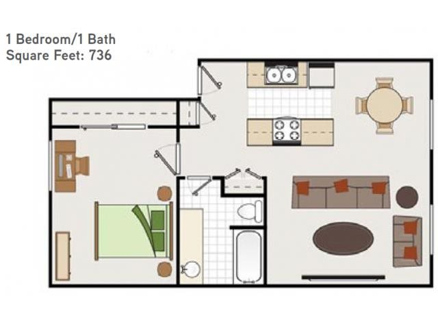 One Bedroom One Bathroom Floorplan at Bella Vista Apartments, Napa, CA, 94558