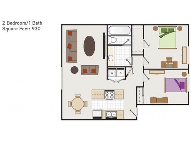 Two Bedroom One Bathroom AA Floorplan at Bella Vista Apartments, Napa, CA