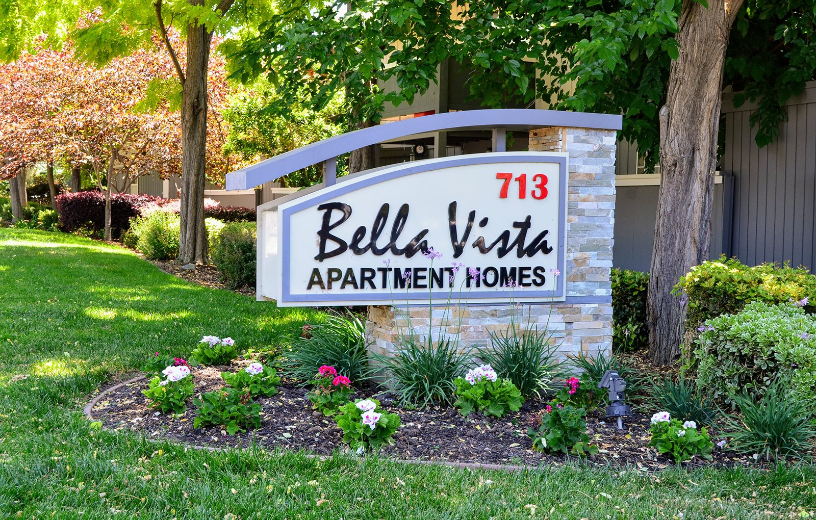 Bella Vista Apartment Homes Logo Sign, 713 Trancas Street, Napa, California