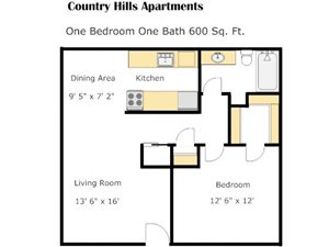 One Bedroom BB Floorplan at Country Hills Apartments in Corona, CA 92882