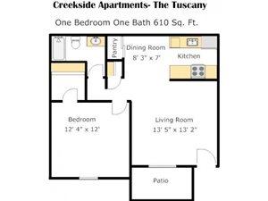 One Bedroom DD Floorplan at Creekside Village, San Bernardino, CA, 92410q