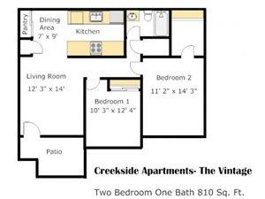 Two Bedroom EE Floorplan at Creekside Village, San Bernardino, 92410