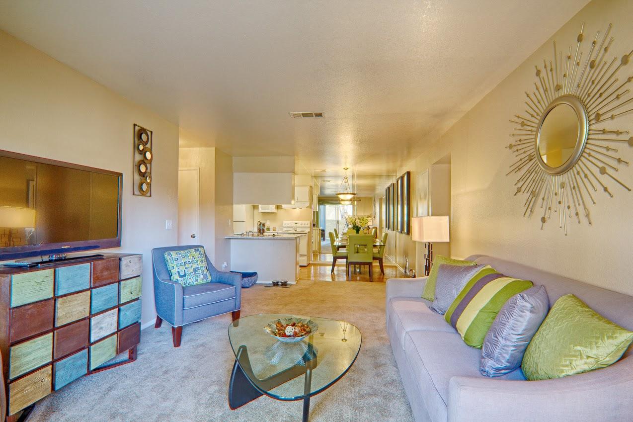 Living Room At Granada Villas, Lancaster, CA, 93534