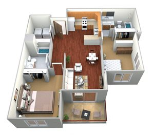 2 Bedroom, 2 Bath (E)