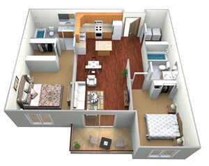 2 Bedroom, 2 Bath (B)