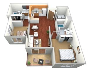 2 Bedroom, 2 Bath (C)