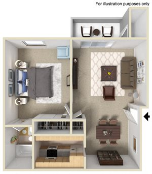 1 Bed 1 Bath Floor Plan at Morning View Terrace Apartments, Escondido, CA