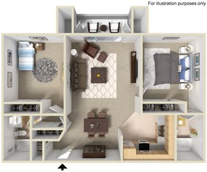2 Bed 2 Bath Floor Plan at Morning View Terrace Apartments, Escondido, 92026