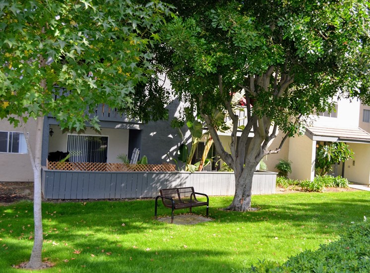 Lush Landscaped Grounds with Benches at Morning View Terrace Apartments, Escondido, 92026