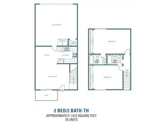 Sycamore - Two Bedroom Two Bathroom Floorplan at Sienna Heights, Lancaster, CA, 93535