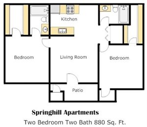 Two Bedroom - B Floorplan at Springhill Apartments
