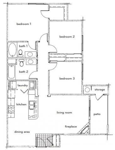 The Durant 3 Bed 2 Bath Floorplan at Sterling Village Apartments