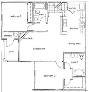The Halsey 2 Bed 2 Bath Floorplan at Sterling Village Apartments