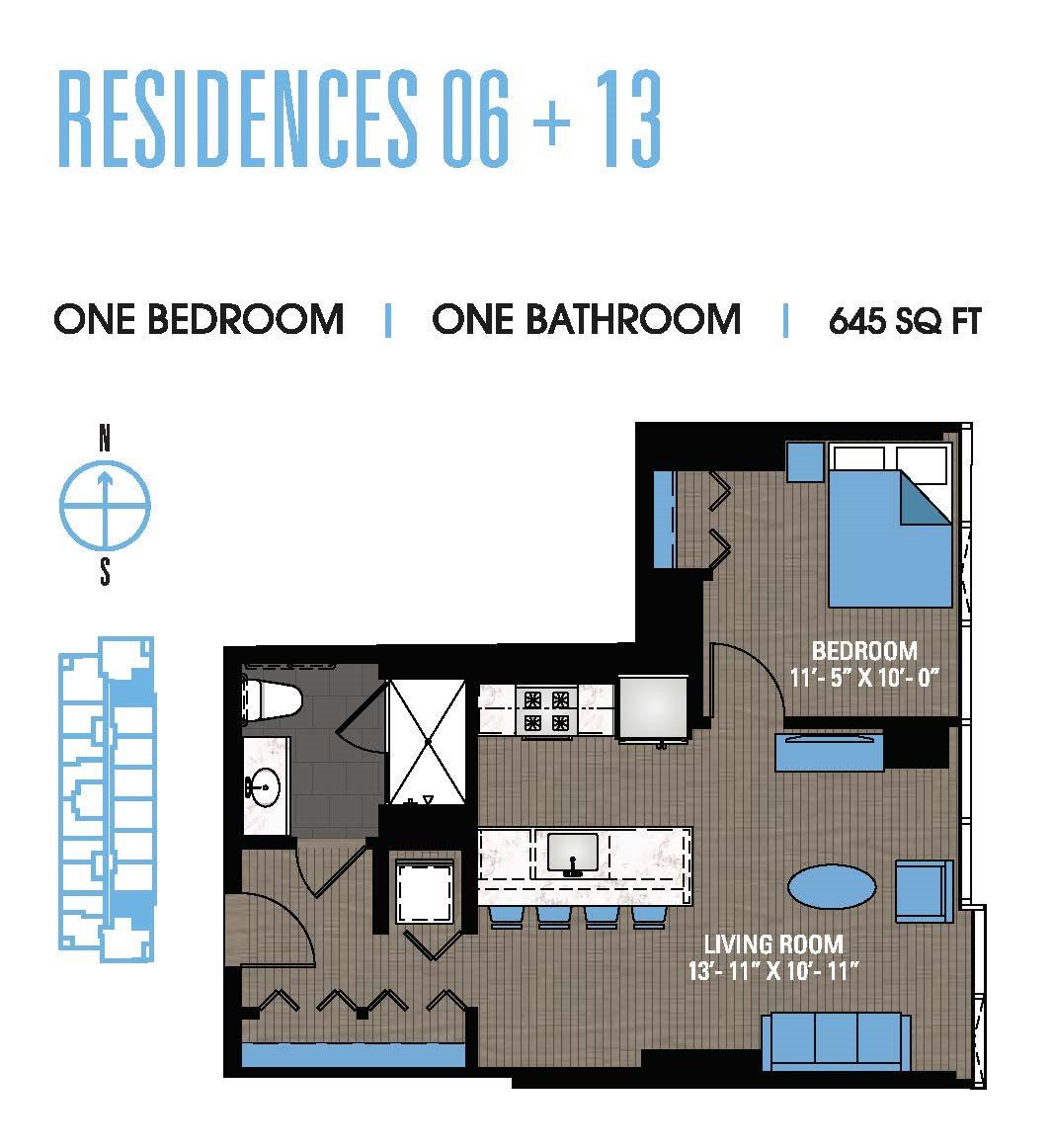 One Bedroom 06+13 Floor Plan 6
