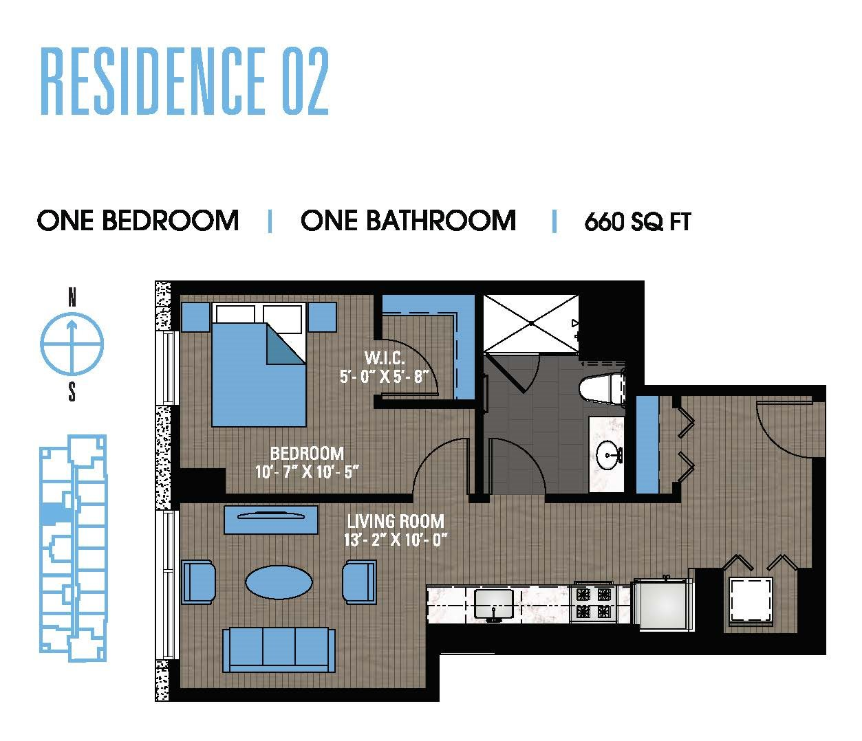 One Bedroom 02 Floor Plan 3