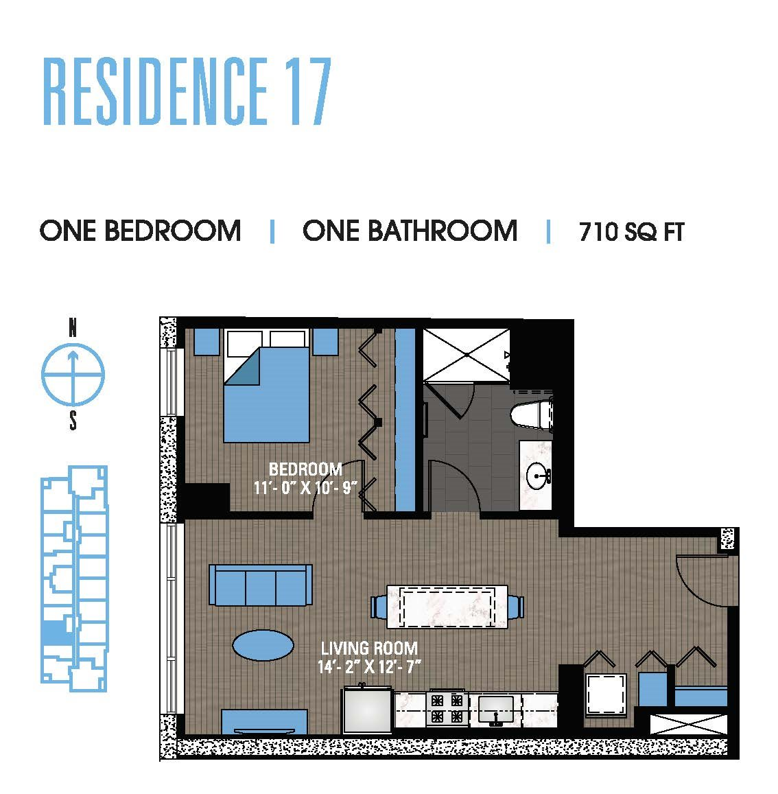 One Bedroom 17 Floor Plan 8