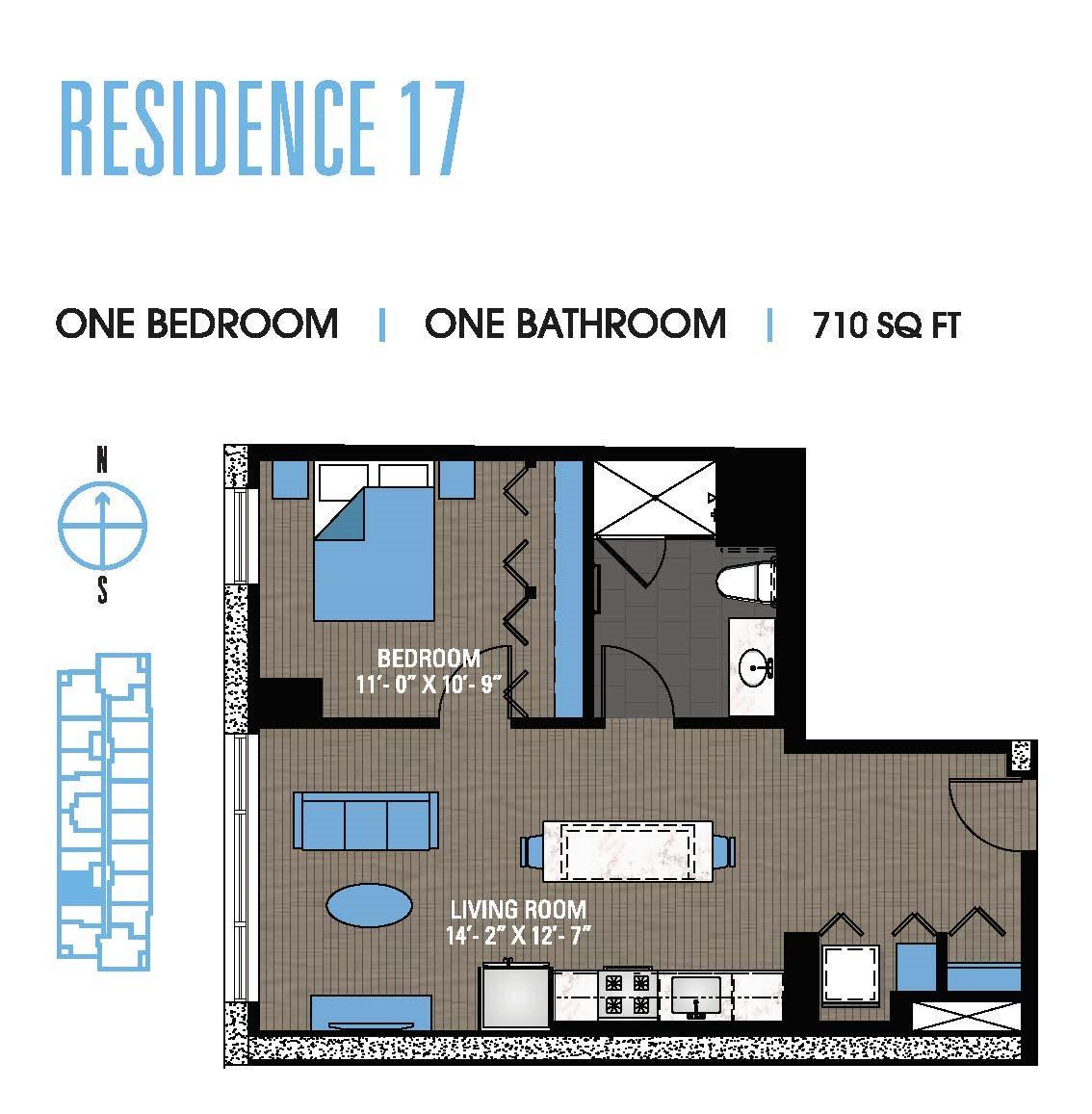One Bedroom 17 Floor Plan 9
