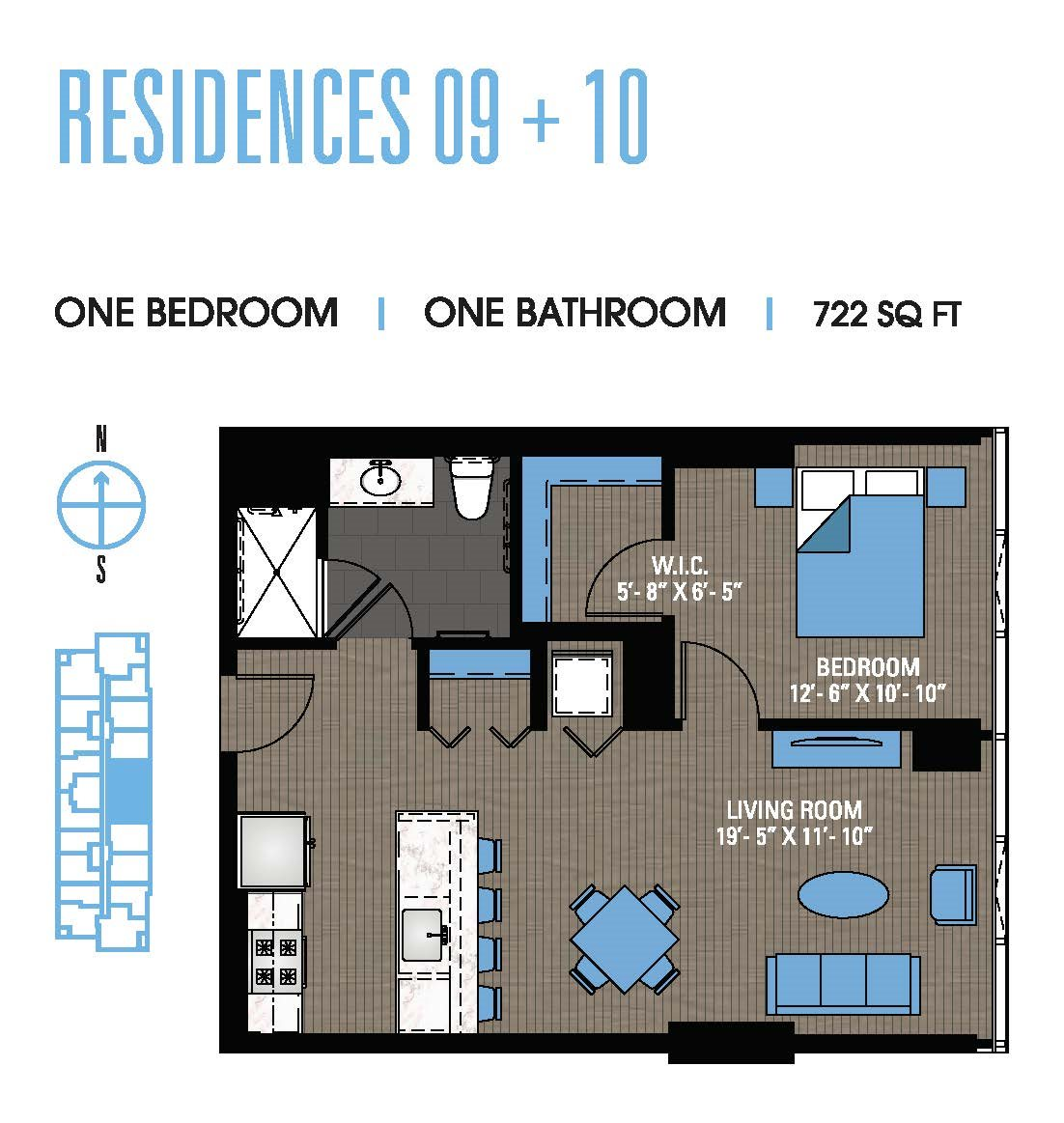 One Bedroom 09+10 Floor Plan 6