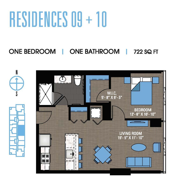 One Bedroom 09+10 Floor Plan 7
