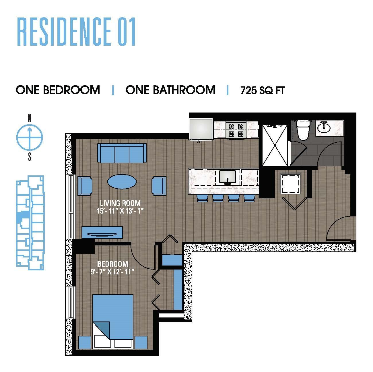 One Bedroom 01 Floor Plan 3