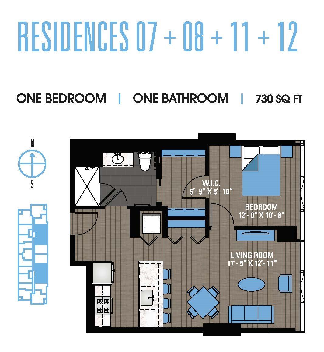 One Bedroom 07+08+11+12 Floor Plan 18