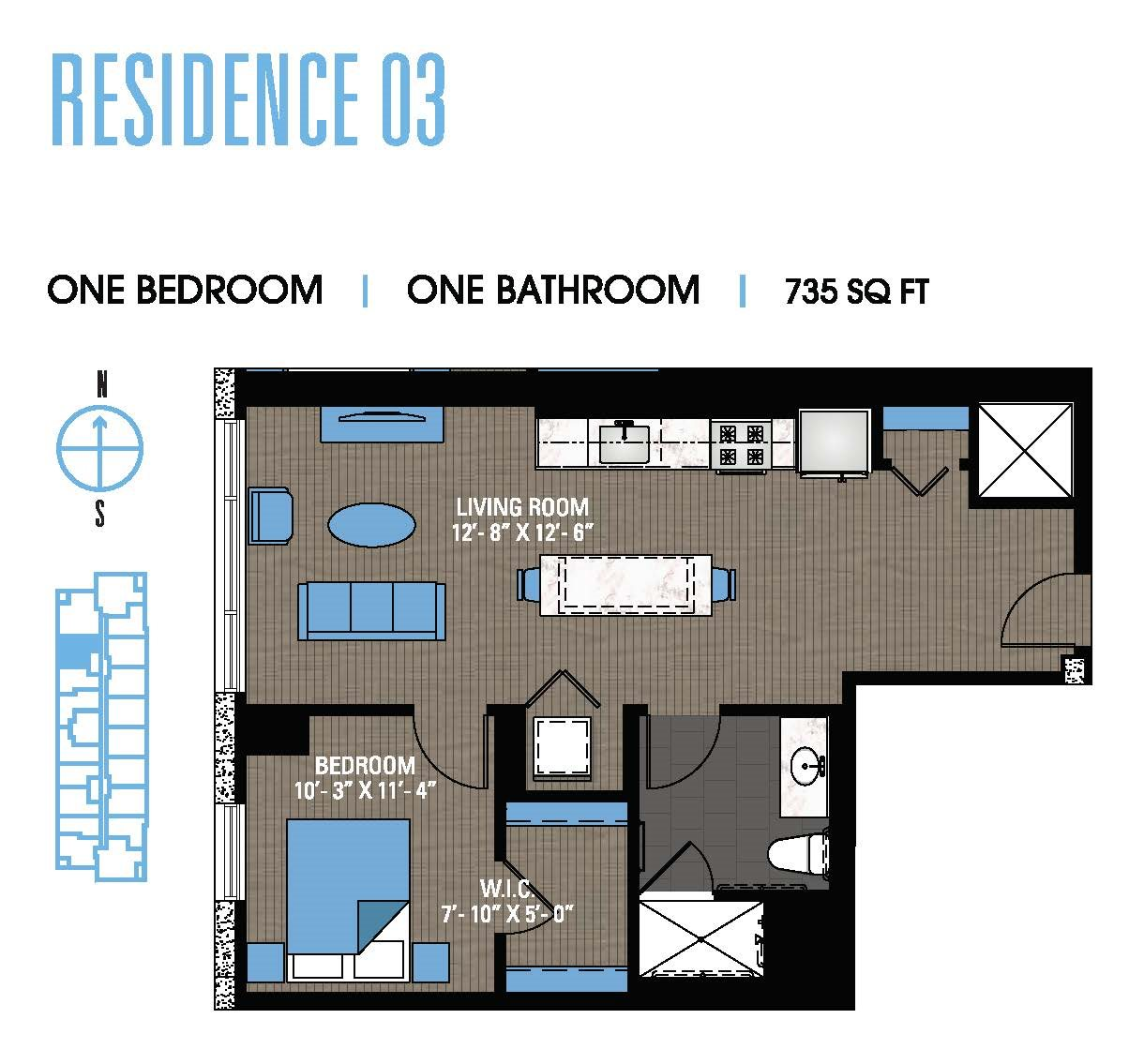 One Bedroom 03 Floor Plan 4