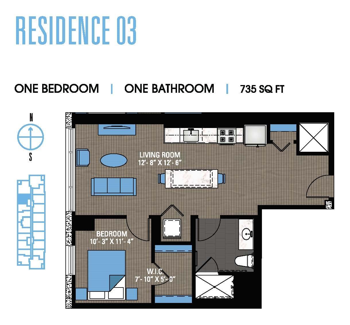 One Bedroom 03 Floor Plan 5