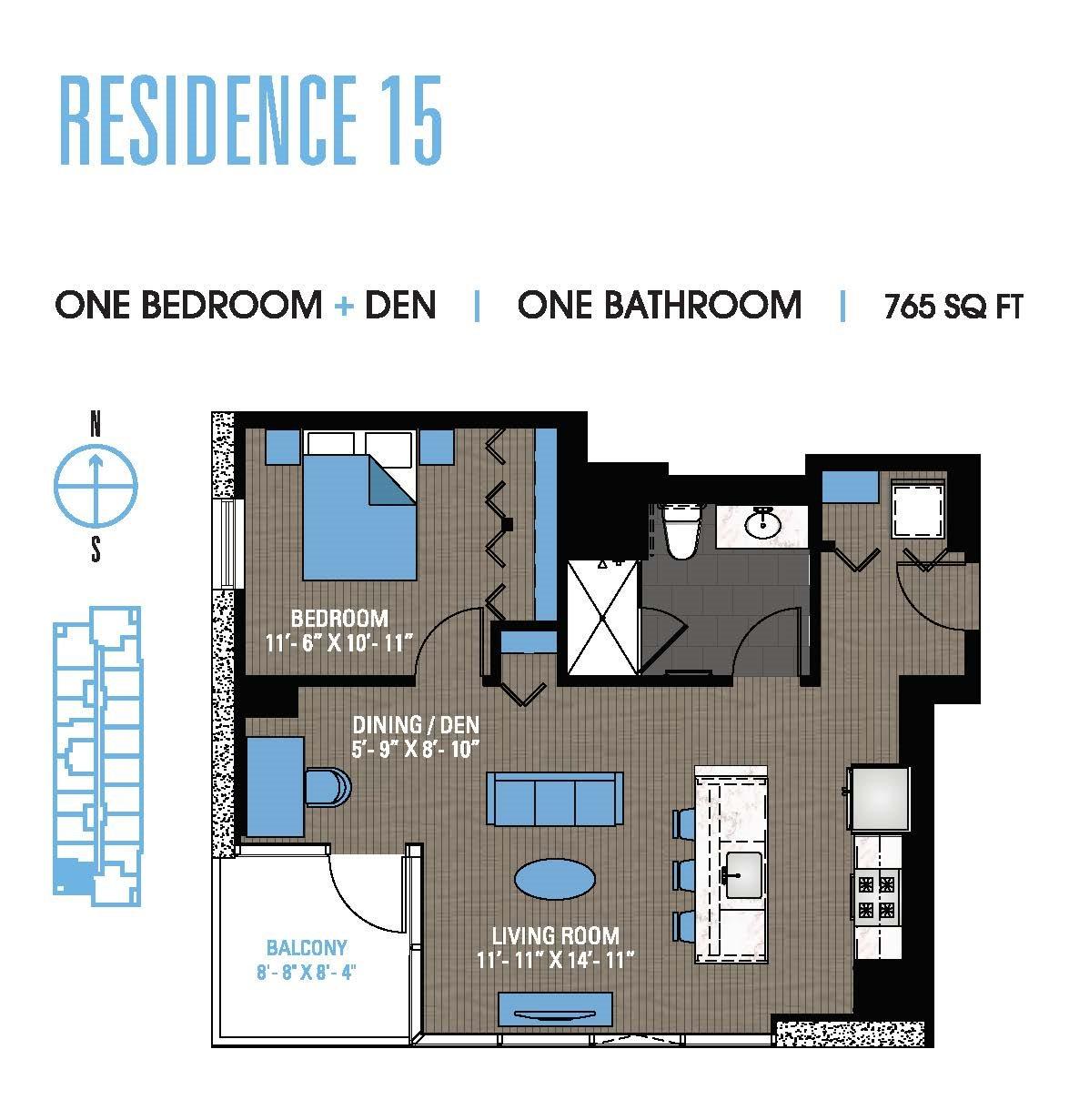 One Bedroom Den 15 Floor Plan 8