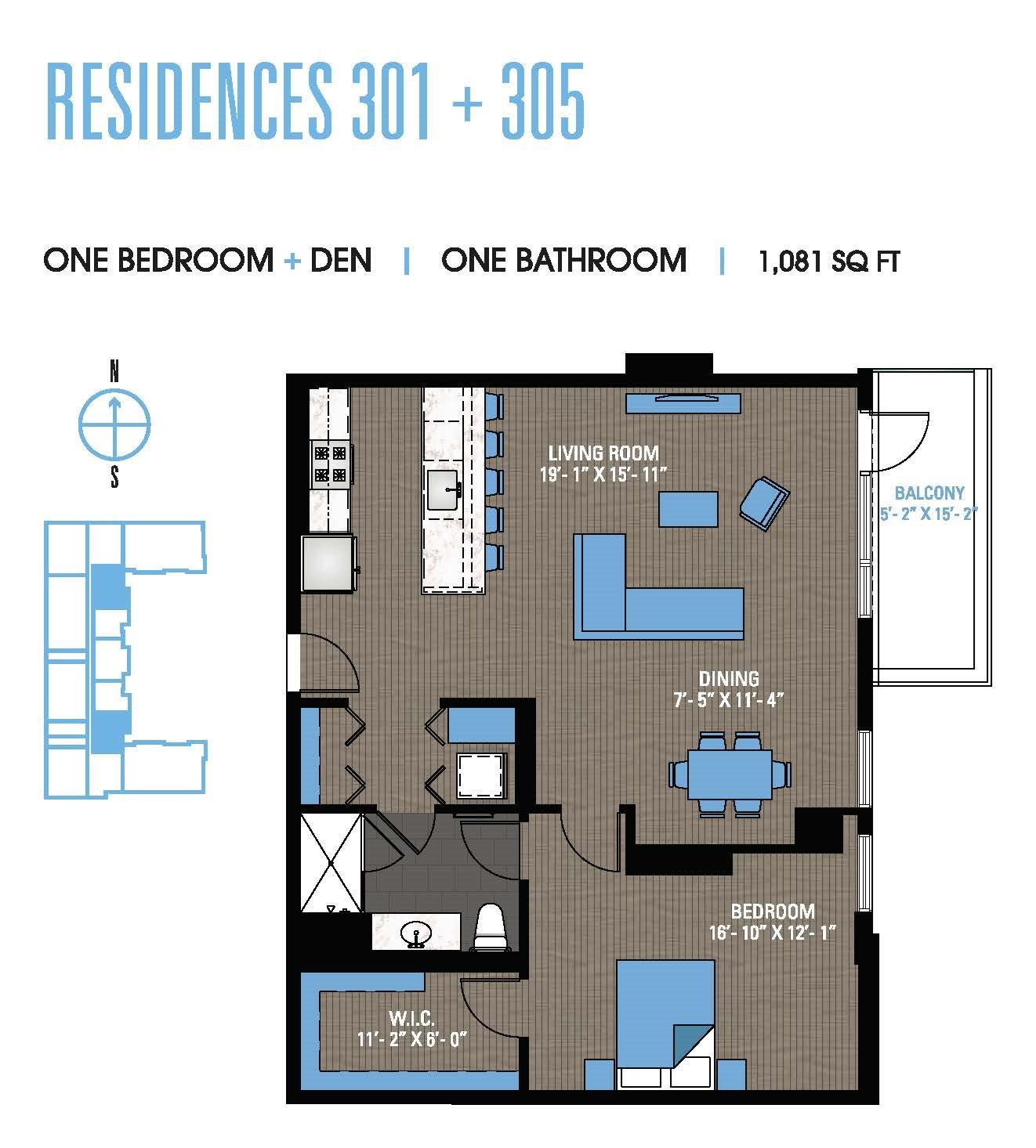 One Bedroom Den 301+305 Floor Plan 11