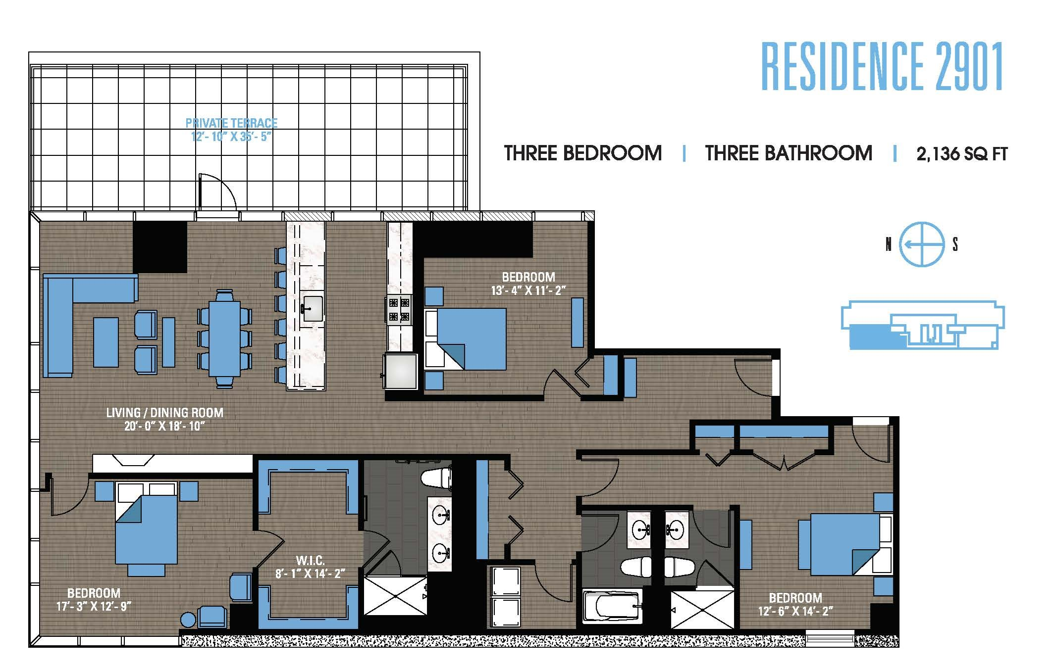 Three Bedroom Penthouse 2901 Floor Plan 16