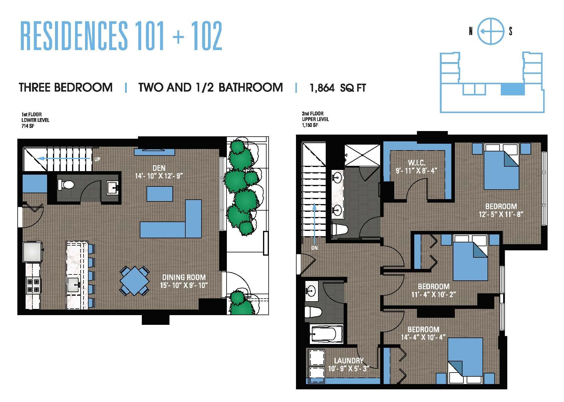 Three Bedroom 101+102 Floor Plan 14