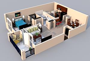 Centerville Manor Apartments Virginia Beach, VA 23464 3-D Floor Plan 1 bedroom 1 bath
