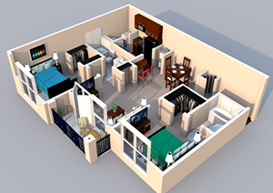 Centerville Manor Apartments Virginia Beach, VA 23464 3-D Floor Plan 2 bedroom 2 bath