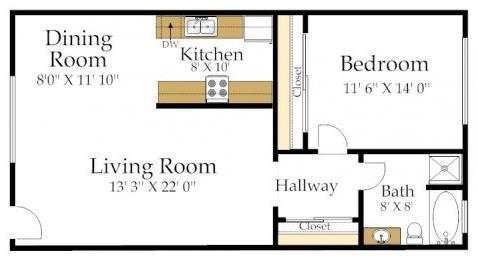 One Bedroom GH Floorplan at  Atrium At West Covina, CA 91791