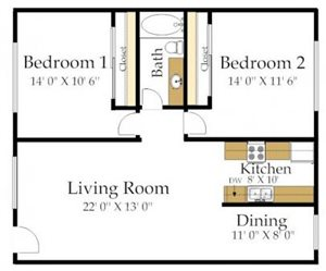 Two Bedroom One Bathroom AC Floorplan at Atrium At West Covina, CA
