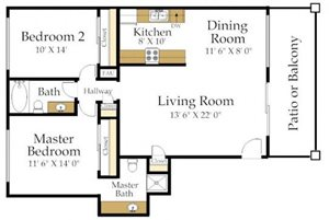 Two Bedroom Two Bath Floorplan at Atrium At West Covina, CA 91791