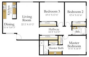Three Bedroom Floorplan at Atrium At West Covina, CA