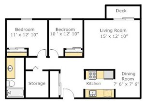 Two Bedroom AD Floorplan at The Boulevard At South Station
