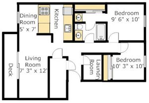 Two Bedroom Deluxe Floorplan at The Boulevard At South Station